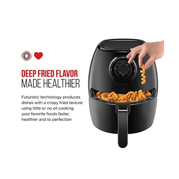 Chefman TurboFry 3.6-Quart Air Fryer Oven w/ Dishwasher Safe Basket and Dual Control Temperature, 60 Minute Timer & 15…