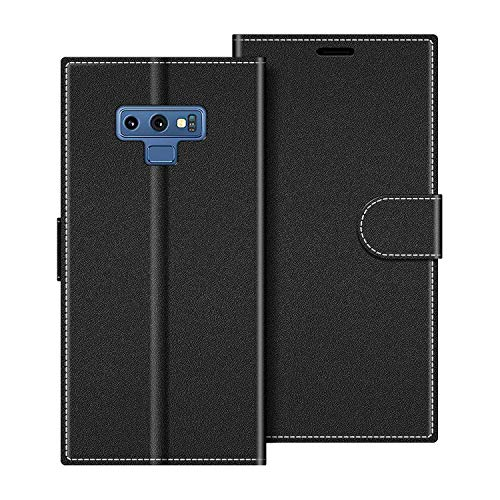 COODIO Handyhülle für Samsung Galaxy Note 9 Handy Hülle, Samsung Galaxy Note 9 Hülle Leder Handytasche für Samsung Galaxy Note 9 Klapphülle Tasche, Schwarz