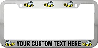 Speedy Pros Custom Text Personlized Animal Bumblebee Zinc Metal License Plate Frame Car Auto Tag Holder - Chrome 2 Holes