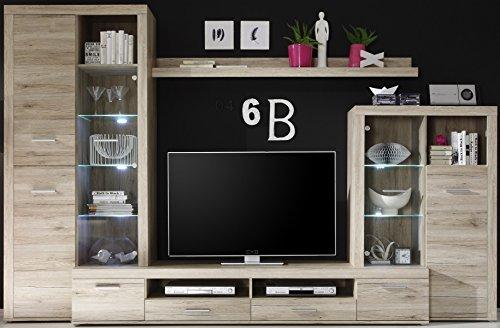 5-5-4-6-2399: Lieferung in die Wohnung - moderne Wohnwand - mit Beleuchtung - 310cm breit - Wohnzimmerschrank - Eiche dekor - TV-Fach 120cm breit - Schubladen auf Metallschienen