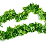 Vine Leaves, 90.5 Feet Artificial Fake Hanging Vine Plant Leaves Ivy Plant Garland Hanging Used for Garden Wall Decoration Parties Grapevine,12 Strip