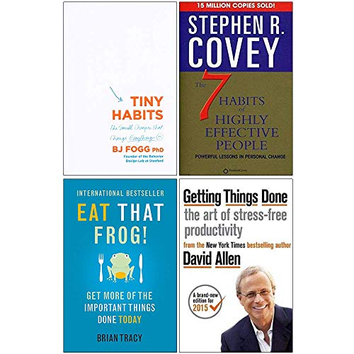 Tiny Habits The Small Changes That Change Everything, The 7 Habits of Highly Effective People, Getting Things Done, Eat That Frog 4 Books Collection Set