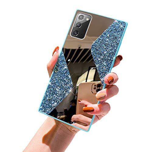 URFEDA Kompatibel mit Samsung Galaxy Note 20 Handyhülle Überzug Spiegel, Silikonhülle mit 360 Grad Ring Ständer Glitzer Bling Strass Diamant Hülle Schutzhülle Durchsichtig Clear Tasche Case,Hellblau