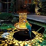 ARONTOME Alimentador solar para pájaros, luz solar impermeable colgante salvaje, linterna solar con bandeja de metal de bronce, para decoración de árboles de jardín al aire libre