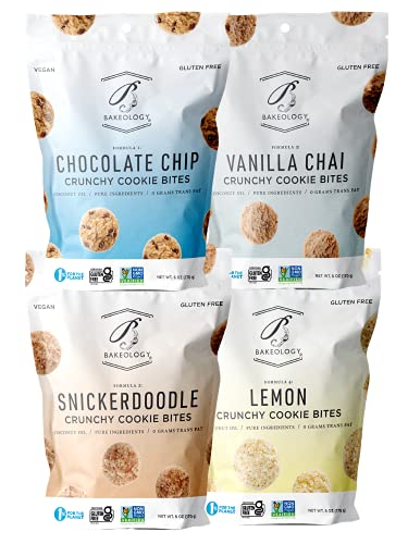 Bakeology Gluten Free Vegan Cookies, School Snacks for Kids, Mini Cookie Bites, Plant Based, Dairy Free, Non GMO, 0g Trans Fat, Dessert Sweets, Made with Coconut Oil & Pure Ingredients (Variety Pack)