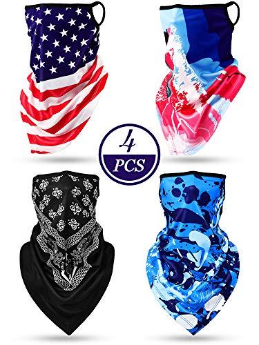 4 Stück Ohrbügel Kopfbedeckung Halsgamaschen Unisex Ohrbügel Dreieck Bandana Ohrbügel Gesicht Sturmhauben Schal für Staub Wind Motorrad im Freien Sport