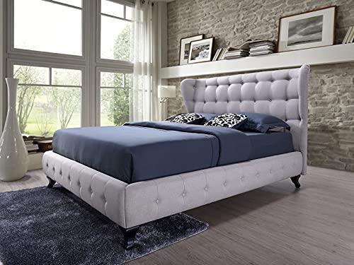 Abella - Cama tapizada con tela de color beige claro (140 x 200 cm, cabecera acolchada, con soporte para colchón de madera, fácil montaje
