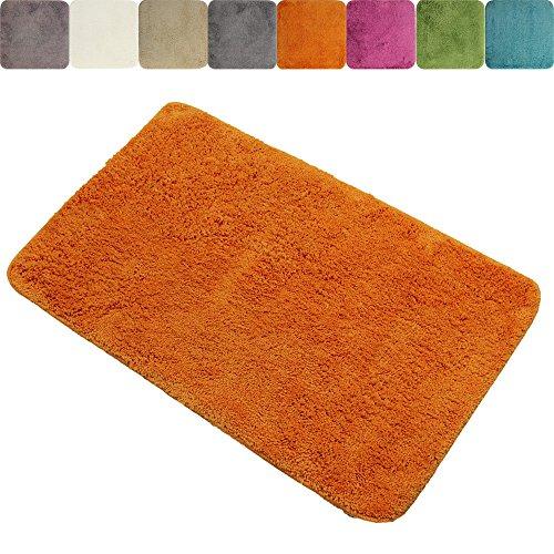 DILUMA Tapis de Salle de Bain Anti-Glissant 60 x 90 cm Lasalle - Absorbant et antidérapant - Différentes Couleurs Disponibles, Couleur:Orange
