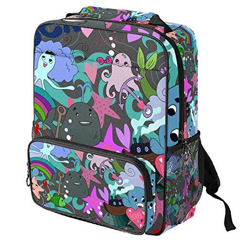 TIZORAX - Mochila escolar para niñas y niños, con dibujos animados, pulpo, estrella de mar, delfín, mujer, mochila de viaje, viaje, senderismo, acampada