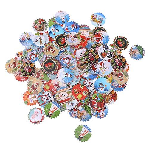 Healifty 100 Piezas de Botones de Flores de Madera Botones Decorativos de Navidad Botones de 2 Agujeros para Hacer Manualidades de Adornos de Navidad