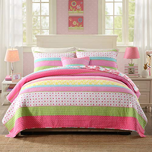 Best Comforter Set 3 Pieces Bedding Set Pink Dot Striped Floral Bedspread Quilt Sets for Girl Kids Children Cotton