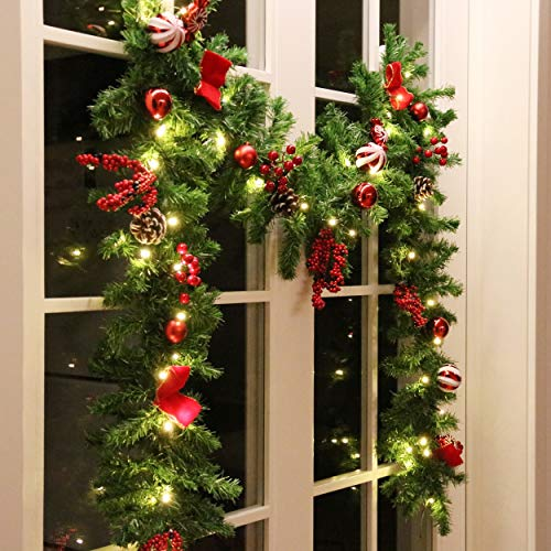Hanizi 9 Foot Artificial Christmas Garland with Lights Pine Cones and Red Berries, 8 Lighting Modes