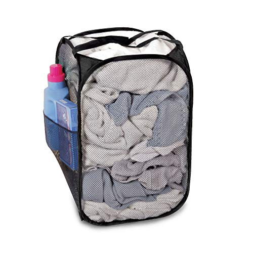 Smart Design Pop-Up Laundry Hamper w/Easy Carry Handles & Side Pocket - Durable Mesh Fabric - Collapsible Design - for Clothes & Laundry - Home Organization (Holds 2 Loads) (13 x 21 Inch) [Black]