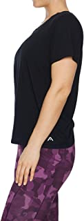 Rockwear Activewear Women's Very Berry Back Gather Detail Tee Black 12 from Size 4-18 for T-Shirt Tops