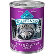 Blue Buffalo Wilderness High Protein Grain Free, Natural Adult Wet Dog Food, Beef & Chicken Grill 12.5-oz cans (Pack of 12)