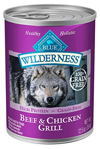 Blue Buffalo Wilderness High Protein Grain Free, Natural Adult Wet Dog Food, 12.5-oz cans (Pack of 12)