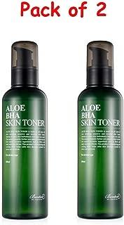 Benton Aloe BHA Skin Toner 6.7oz ( Pack of 2 ) with Ponytail Elastics