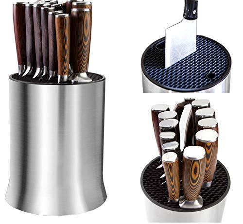 Bloque universal para cuchillos, soportes con ranuras para tijeras y varilla de afilar, desmontable para una fácil limpieza, acero inoxidable, a prueba de óxido, (18 x 23 cm)