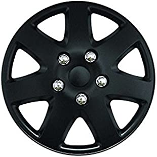 XtremeAuto® 15'' Premium MATT BLACK Car Wheel Trims Hub Caps With Chrome Bolts Includes Cable Ties And Valve Caps - Includes XtremeAuto Sticker:Kumagai-yutaka