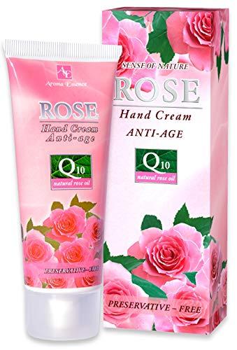 Anti-Age Feuchtigkeits Handcreme mit natürliches Rosenöl, Q10, Vitamin E und Glycerin, Anti-Falten Handpflege für trockener und sensibler Haut 75ml
