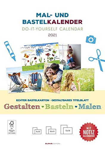 Mal- und Bastelkalender 2021 mit Platz für Notizen - weiß - Do it yourself calendar A4 - datiert - Foto-Kalender - Alpha Edition