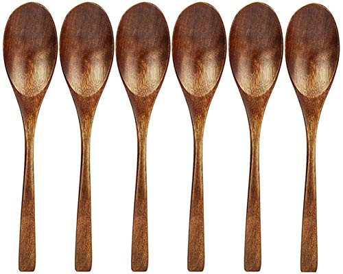 AOOSY Wooden Spoon, 6 Pieces Natural Eco-friendly Tableware Cutlery