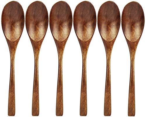 AOOSY Wooden Spoon, 6 Pieces Natural Eco-friendly Tableware Cutlery