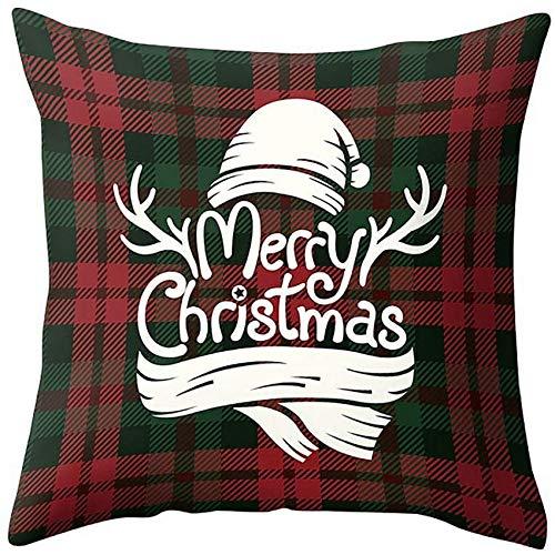 XXLYY Christmas Decoration Pillow Case Cushion Cover, Xmas Tree Snowflake Snowman Reindeer Pillowcases Decor, for Sofa Cushion Cover Home Outdoor (C)