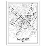 Póster de mapa de la ciudad mundial de España en blanco y negro, impresiones en lienzo y pósteres, para decoración del hogar, sin marco (zaragoza, 40 x 60 cm)
