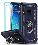 LeYi Funda Samsung Galaxy A20e con [2-Unidades] Cristal Vidrio Templado,Armor Carcasa con 360 Grados Anillo iman Soporte Hard PC y Silicona TPU Bumper Antigolpes Case para Movil A20e,Azul