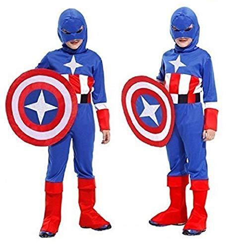 Maat l - 7/9 jaar - kostuum - vermomming - carnaval - halloween - captain america - superheld - blauwe kleur - kind