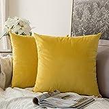 MIULEE Pack de 2, Terciopelo Suave Juego de Mesa de Manta de decoración Cuadrado Fundas de Almohada Funda de cojín para sofá dormitorio18 x 18 Pulgada 45 x 45 cm Amarillo limón