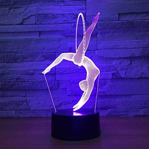 3D Gimnasia ilusión Optica Lámpara Luz Nocturna 7 Colores Cambiantes Touch USB de Suministro de Energía Juguetes Decoración Navidad Cumpleaños Regalo