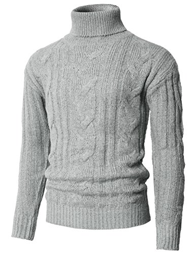 H2H Mens Slim Fit Wide Ribbed Cotton Blend Turtleneck Pullover Gray US 2XL/Asia 3XL (KMOSWL0222)