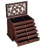 SONGMICS Large Jewelry Organizer Wooden Storage Box 6 Layers Case with 5 Drawers, Dark...