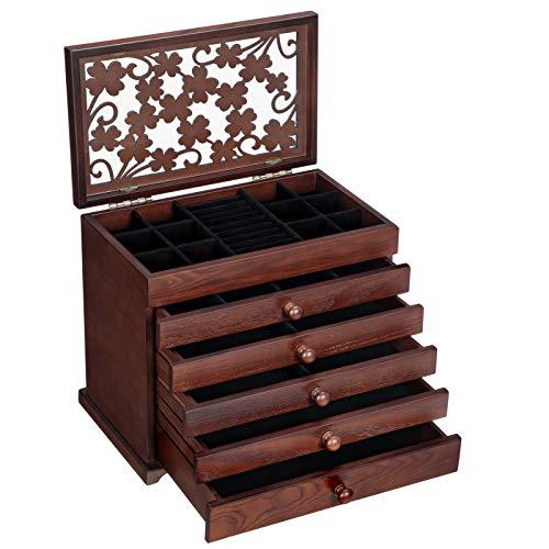 SONGMICS Caja de Madera para Joyas con Tallas Florales, Caja Joyero de 6 Niveles con 5 Cajones Extraíbles, Regalo para los Seres Queridos, Marrón Oscuro JBC56W