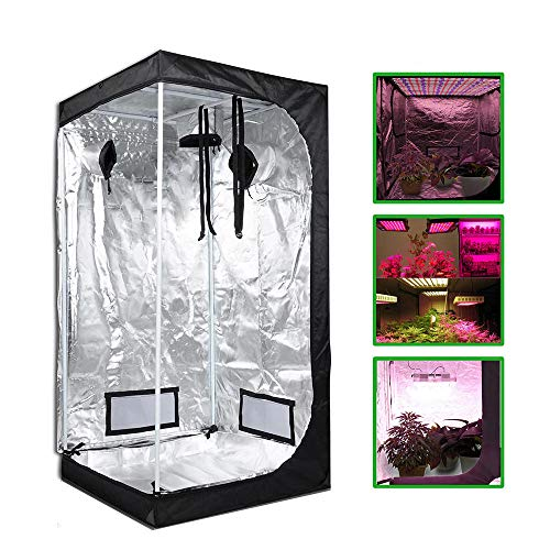 HWHSZ Grow Tent, Reflective Mylar Hydroponic Grow Tent, Greenhouse Planting Tent with Removable Waterproof Floor Tray for Indoor Plant Growing, with Defensive Glasses and Nylon Lanyard,60x60x140cm