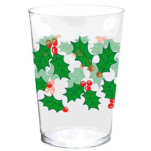Amscan 580004 Christmas Holly Tumblers, 40 Ct, 10 oz, Multicolor