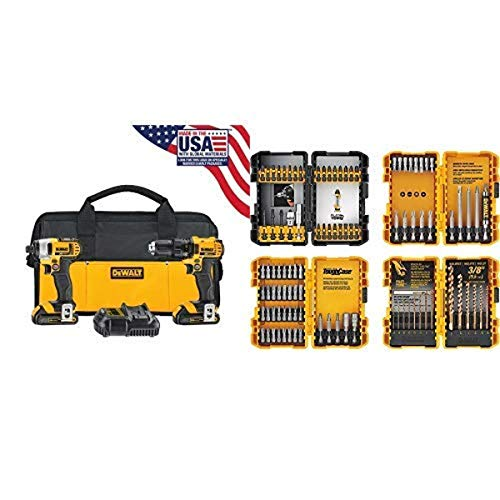DEWALT 20V MAX Impact Driver and Drill Combo Kit (DCK280C2) with DEWALT DWA2FTS100 Screwdriving and Drilling Set 100 Piece