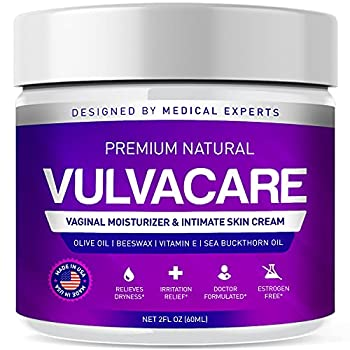 Organic Vaginal Moisturizer Vulva Balm Cream Intimate Skin Care Menopause Support - Relieves Dryness Itching Burning Redness Chafing Odor Irritation - Estrogen Free  2 Ounces