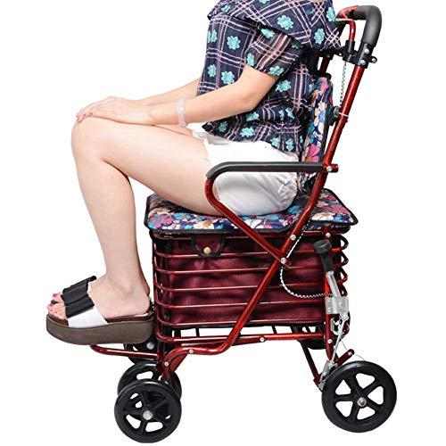 Y-L Rollators 4 Wiel Vouwen met Onderstoel Mand en Stoel Rollators 4 Wiel voor de Ouderen
