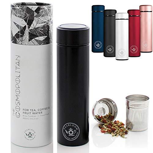 Teabloom Vaso De Bebidas Multiusos - 480 Ml/Botella De Agua con Aislamiento De Metal Cepillado - Vaso De Té - Botella De Viaje - Máquina para Hacer Cerveza Fría