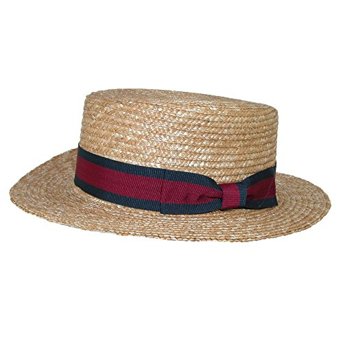 CTM Straw 2 Inch Brim Boater Hat with Navy Band, XLarge, Natural