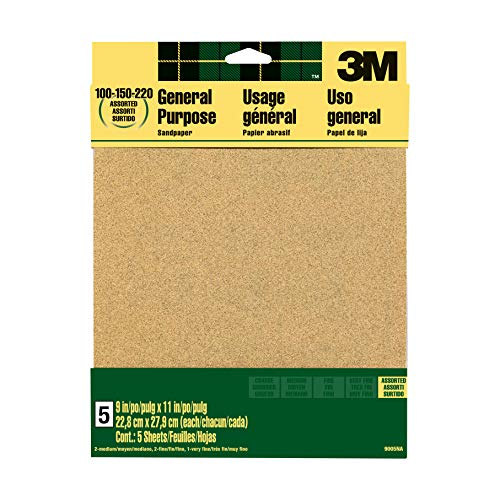3M Aluminum Oxide Sandpaper, Assorted Grits, 9-in x 11-in Sheets (9005NA)