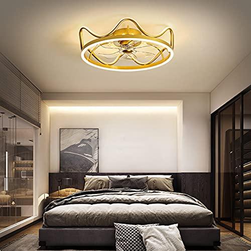 HAITOY Ventilador de Techo Luz con LED Iluminación, Luz de Techo Tipo Corona, Moderno Regulable para Silencioso Niños Dormitorio Iluminación Decorativo,Oro