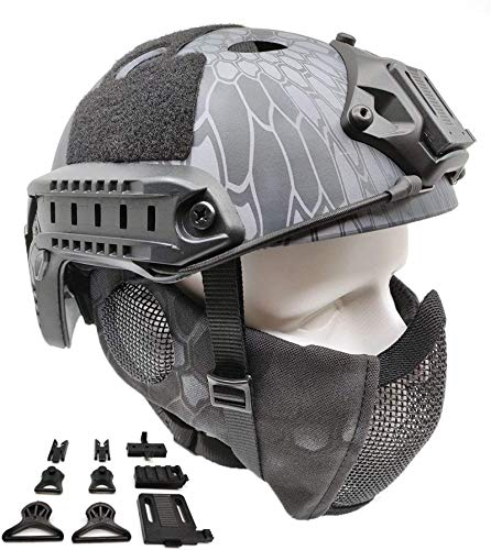 Feeyond Tactical Air Gun Fast Helmet PJ Type And Metal Mesh Cover Protect Ear TYP, Suitable for Paintball Protection Equipment CS Games