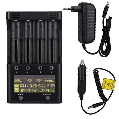 LiitoKala Lii-500S Cargador de batería LCD de 4 Ranuras para Lipo/NI-MH 18650/26650/14500/AA/AAA Pantalla LCD Independiente el Modo de Carga y Descarga(YO)