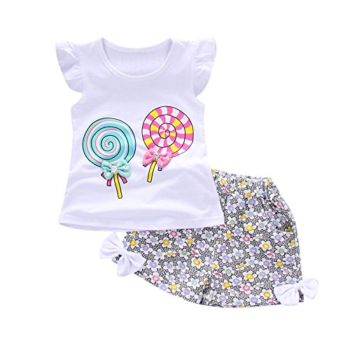 YWLINK 2PCS MäDchen Süß Outfits Lolly RüSchen KappenhüLse T-Shirt Tops + Blume Drucken Kurze Hosen Urlaub Strand Set(Weiß,100)