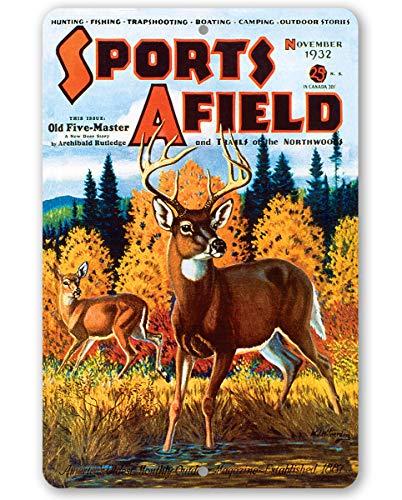 565pir Deportes Afield Fall Deer Caza Cover Metal Sign Use IndoorOutdoor Hace una Gran Caza Home o Cabin Decor