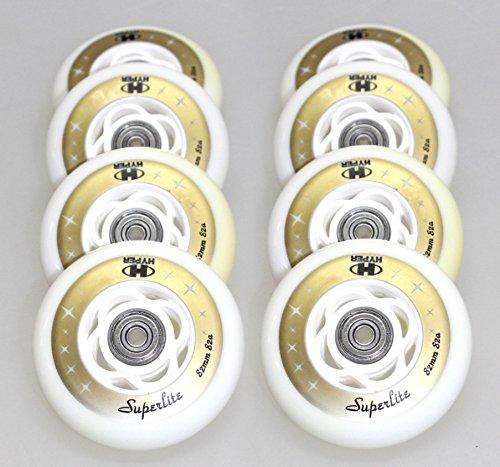 8er Set K2 Rollen Inliner Skates fertig montierte HYPER Superlite Rolle 82mm/82a + Lager ABEC7 + Alu-Spacer 6mm